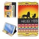 Samsung Galaxy Tab 4 8.0 inch / T330 horizontaal HAKUNA MATATA patroon PU leren Flip Hoesje met houder en opbergruimte voor pinpassen & geld