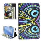 Samsung Galaxy Tab 4 8.0 inch / T330 horizontaal Kleurrijk uilenkop patroon PU leren Flip Hoesje met houder en opbergruimte voor pinpassen & geld