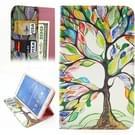 Samsung Galaxy Tab 4 8.0 inch / T330 horizontaal Kleurrijk boom patroon PU leren Flip Hoesje met houder en opbergruimte voor pinpassen & geld
