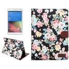 Samsung Galaxy Tab S2 9.7 / T815 horizontaal Bloemen patroon Kleding structuur PU leren Flip Hoesje met houder en opbergruimte voor pinpassen & geld (zwart)