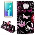 vlinder Loves Bloemen patroon horizontaal Flip lederen hoesje met opbergruimte voor pinpassen & portemonnee & houder voor Samsung Galaxy S6 Edge Plus / G9280