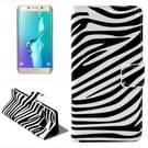 Zebra patroon horizontaal Flip lederen hoesje met opbergruimte voor pinpassen & portemonnee & houder voor Samsung Galaxy S6 Edge Plus / G9280