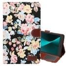 Voor Galaxy Tab een 8.0 (2017) / T380 / T385 bloem patroon doek oppervlakte PU lederen draagtas met houder & kaartsleuven & portemonnee (zwart)