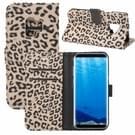 Voor Galaxy S9 Luipaard patroon PU + PC horizontaal lederen draagtas met houder & kaartsleuven & Wallet(Brown) spiegelen