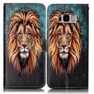 Samsung Galaxy S8 + / G9550 horizontaal Glanzend 3D leeuw patroon PU leren Flip Hoesje met houder  foto frame en opbergruimte voor pinpassen & geld