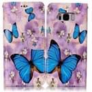 Samsung Galaxy S8 + / G9550 horizontaal Glanzend 3D Paars vlinder patroon PU leren Flip Hoesje met houder  foto frame en opbergruimte voor pinpassen & geld