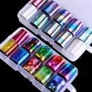 10 PCS DIY holografische nagel folie instellen transparant Nail Art overdracht Sticker  willekeurige levering