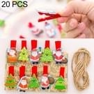 2 sets kerst houten clip foto clip schattig cartoon kleur clip foto muur clip met hennep touw Santa Claus en kerstboom