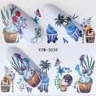 5 pc's Water overdracht Stickers Decals bloem Stickers voor nagels  kleur: YZW-3039