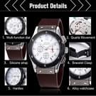 JEDIR 527905 3ATM waterdichte Arabische cijfers schaal Quartz beweging drie functionele Sub wijzerplaten (24 uren  Stopwatch  minuut) taille horloge met siliconen Band & lichtgevende aanwijzer & kalenderfunctie Display voor Men(Red)
