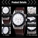JEDIR 527903 3ATM waterdichte Arabische cijfers schaal Quartz beweging drie functionele Sub wijzerplaten (24 uren  Stopwatch  minuut) taille horloge met siliconen Band & lichtgevende aanwijzer & kalenderfunctie Display voor Men(Brown)
