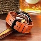 CAGARNY 6828 modieuze multifunctionele stijl Quartz horloge met leder Band & GMT tijd & kalender & goed verlicht Display voor mannen Sport (witte venster rode naald)