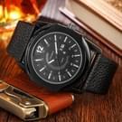 CAGARNY 6838(1) modieuze Quartz Wrist Watch with lederen Band voor mannen (Black Window [witte schaal)