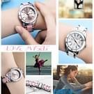 LONGBO 4511 drie kleine wijzerplaten mode vrouwen Quartz horloge met legering & keramiek Band(Pink)