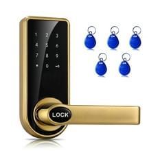 OS8818-JS wachtwoord + sleutel + Sensor kaart zink legering rode bronzen elektronische deur vergrendeling Touch scherm elektronische Code Lock(Gold)