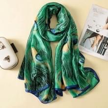Vrouwen bloemen elegante geïmiteerd zijde stof pauw veren patroon omslagdoek zonnebrandcrème strand sjaal  grootte: 90 * 180cm