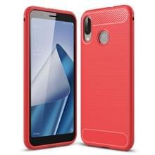 Voor Asus Zenfone Max (M1) ZB555KL geborsteld textuur koolstofvezel schokbestendige TPU terug beschermhoes (rood)