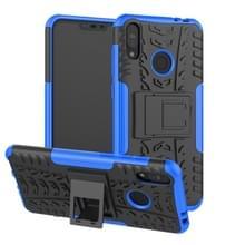 Tire textuur TPU + PC schokbestendige behuizing voor Asus Zenfone Max (M2)  met houder (blauw)