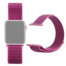 Eenvoudige mode nylon horlogebandje voor Apple Watch serie 5 & 4 44mm/3 & 2 & 1 42mm  met Magic stick (rood paars)