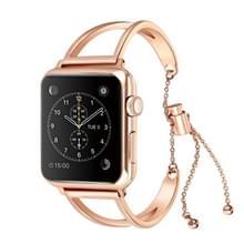Letter V vorm armband metalen polshorloge band met roestvrijstalen gesp voor Apple Watch serie 3 & 2 & 1 38mm (Rose goud)