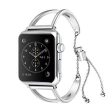 Letter V vorm armband metalen polshorloge band met roestvrijstalen gesp voor Apple Watch serie 3 & 2 & 1 38mm (zilver)