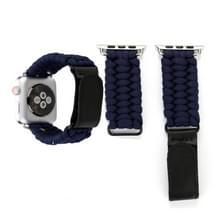 Magische plakken echt leder paraplu touw nylon polshorloge band met en RVS gesp voor Apple Watch serie 3 & 2 & 1 38mm (donkerblauw)