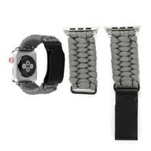 Magische plakken echt leder paraplu touw nylon polshorloge band met en RVS gesp voor Apple Watch serie 3 & 2 & 1 38mm (grijs)