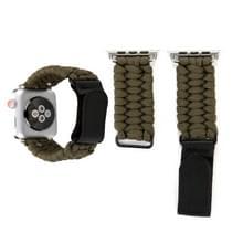 Magische plakken echt leder paraplu touw nylon polshorloge band met en RVS gesp voor Apple Watch serie 3 & 2 & 1 38mm (bruin)