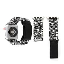 Magische plakken lederen paraplu touw nylon polshorloge band met RVS gesp voor Apple Watch serie 3 & 2 & 1 42mm (zwart + wit)