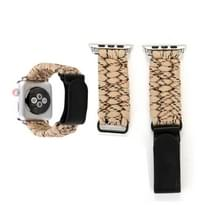 Magische plakken lederen paraplu touw nylon polshorloge band met RVS gesp voor Apple Watch serie 3 & 2 & 1 42mm (goud)