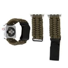 Magic paste echt leder paraplu touw nylon polshorloge band met RVS gesp voor Apple Watch serie 3 & 2 & 1 42mm (bruin)