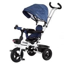 [JPN-magazijn] Opvouwbare kinderen Driewieler fiets peuter buitenwagen met stuurhendel & gordel & afneembare parasol(Blauw)