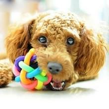 Leuke kleurrijke Weave stijl Bell Ball huisdier speelgoed  grootte: L (9 * 9 * 9cm)