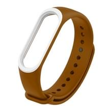 Colorful Silicone Wrist Strap Watch Band for Xiaomi Mi Band 3 & 4 (Brown+White)