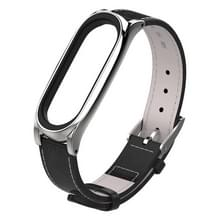 Mijobs Top-grain Leather Strap for Xiaomi Mi Band 3 & 4 Wrist Straps Screwless Magnetic Bracelet Smart Band Replace Accessories  Host not Included