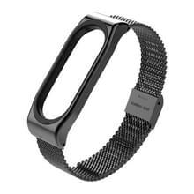 Mijobs metaal band voor Xiaomi Mi Band 3 schroefloze Buckle stijl Stainless Steel Bracelet polsbandjes vervangen accessoires  Host niet Included(Black)