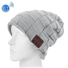 Vierkant geweven gebreide Bluetooth Headset warme Winter Beanie muts met Mic voor jongen & meisje & Adults(Grey)