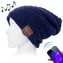 Weave geweven gebreide Bluetooth Headset warme Winter Beanie muts met Mic voor jongen & meisje & volwassenen (donkerblauw)