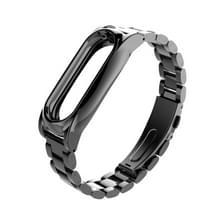 Mijobs metaal Draagkoordje originele Xiaomi Mi Band 2 riem Stainless Steel Bracelet polsbandjes vervangen accessoires  Host niet Included(Black)