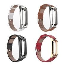 Mijobs Leather Strap voor Xiaomi Mi Band 2 pols bandjes schroefloze magnetische armband Miband2 Smart Band vervangen accessoires  Host niet Included(Black)