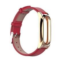 Mijobs Leather Strap voor Xiaomi Mi Band 2 pols bandjes schroefloze magnetische armband Miband2 Smart Band vervangen accessoires  Host niet Included(Red)
