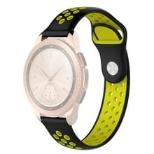 Double Color Wrist Strap Watch Band for Galaxy Watch 42mm (Black Yellow)