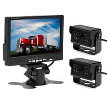 A1510 7 inch HD auto 12 IR nachtzicht achteruitkijk back-up dual camera rearview monitor  met 15m kabel