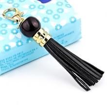 LS02 koeienhuid kwast sleutelhanger auto opknoping tas hanger (zwart)