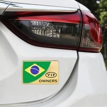 Universele auto Brazilië vlag rechthoek vorm VIP Metal decoratieve sticker (goud)