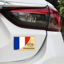 Universele Auto Frankrijk vlag rechthoek vorm VIP Metal decoratieve sticker (goud)