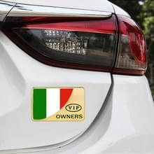 Universele auto Italië vlag rechthoek vorm VIP Metal decoratieve sticker (goud)