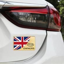 Universele auto UK vlag rechthoek vorm VIP Metal decoratieve sticker (goud)