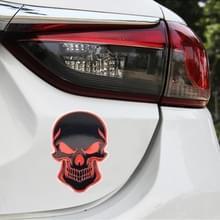 Universele auto schedel vorm metalen decoratieve sticker (zwart rood)