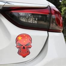 Universele auto Chinese vlag schedel vorm metalen decoratieve sticker